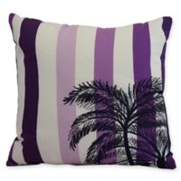E by Design Thin Stripe Palm Square Throw Pillow in Purple