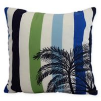 E by Design Thin Stripe Palm Square Throw Pillow in Green