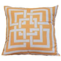 E by Design Greek New Key Square Throw Pillow in Yellow