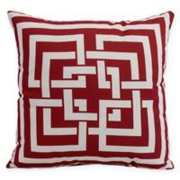 E by Design Greek New Key Square Throw Pillow in Red
