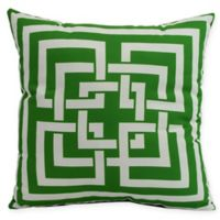 E by Design Greek New Key Square Throw Pillow in Green