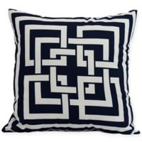 E by Design Greek New Key Square Throw Pillow in Navy