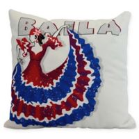 E by Design Cuban Dancer Baila Square Throw Pillow in Royal Blue