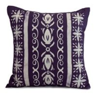 E by Design Abstract Cuban Tile Square Throw Pillow in Purple