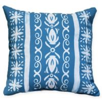 E by Design Abstract Cuban Tile Square Throw Pillow in Teal