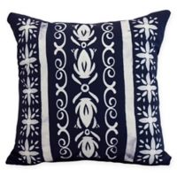 E by Design Abstract Cuban Tile Square Throw Pillow in Navy Blue