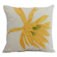 E by Design Hojaver Floral Square Throw Pillow in Yellow