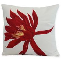 E by Design Hojaver Floral Square Throw Pillow in Red