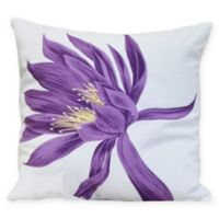 E by Design Hojaver Floral Square Throw Pillow in Purple