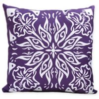 E by Design Floral Cuban Tile Square Throw Pillow in Purple