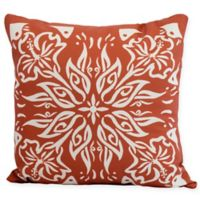 E by Design Floral Cuban Tile Square Throw Pillow in Orange