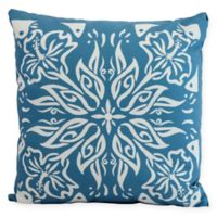 E by Design Floral Cuban Tile Square Throw Pillow in Teal