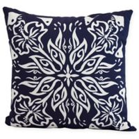 E by Design Floral Cuban Tile Square Throw Pillow in Navy Blue