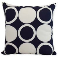 E by Design Mod Circles Square Throw Pillow in Navy Blue