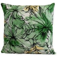 E by Design Zentangle Floral Square Throw Pillow in Green/Black