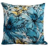 E by Design Zentangle Floral Square Throw Pillow in Teal/Black