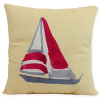E by Design Sail Away Square Throw Pillow in Yellow