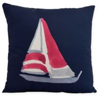 E by Design Sail Away Square Throw Pillow in Navy