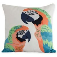 E by Design Macaw Close Up Square Throw Pillow in Orange