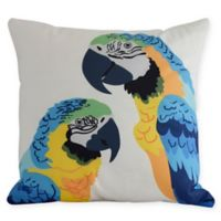 E by Design Macaw Close Up Square Throw Pillow in Blue