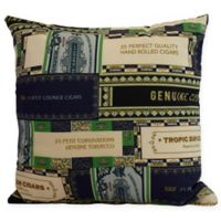 E by Design Cigar Box Collage Square Throw Pillow in Navy Blue