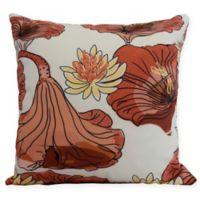 E by Design Lotokoi Floral Square Throw Pillow in Orange
