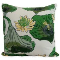 E by Design Lotokoi Floral Square Throw Pillow in Green