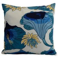 E by Design Lotokoi Floral Square Throw Pillow in Teal
