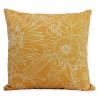 E by Design Zentangle Floral Square Throw Pillow in Gold/White