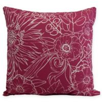 E by Design Zentangle Floral Square Throw Pillow in Pink/White