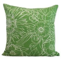 E by Design Zentangle Floral Square Throw Pillow in Green/White