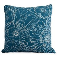 E by Design Zentangle Floral Square Throw Pillow in Teal/White