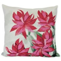 E by Design Christmas Cactus Square Throw Pillow in Pink