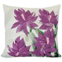 E by Design Christmas Cactus Square Throw Pillow in Purple