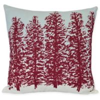 E by Design Hidden Forest Square Throw Pillow in Red