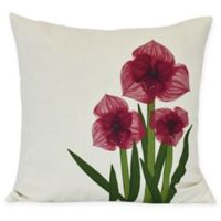 E by Design Amaryllis Square Throw Pillow in Red