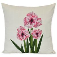 E by Design Amaryllis Square Throw Pillow in Pink