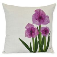 E by Design Amaryllis Square Throw Pillow in Purple