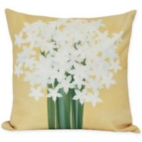 E by Design Paperwhites Square Throw Pillow in Gold