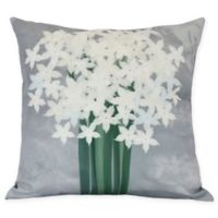 E by Design Paperwhites Square Throw Pillow in Grey