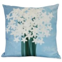 E by Design Paperwhites Square Throw Pillow in Light Blue