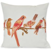 E by Design Morning Birds Square Throw Pillow in Orange