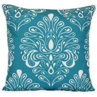 Veranda Flocked Floral Throw Pillow in Teal