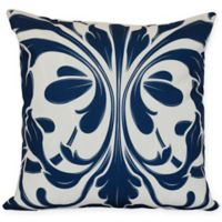 British Colonial Flocked Floral Square Throw Pillow in Blue