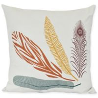 Feather Study Floral Square Throw Pillow in Orange