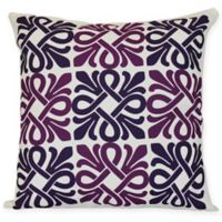 Tiki Square Throw Pillow in Purple