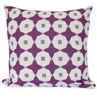 E by Design Button Up Square Throw Pillow in Purple