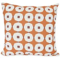 E by Design Button Up Square Throw Pillow in Orange