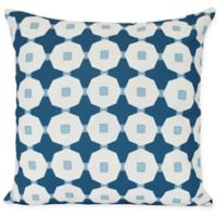 E by Design Button Up Square Throw Pillow in Blue