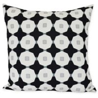 E by Design Button Up Square Throw Pillow in Black